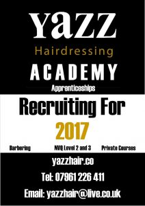 Training for Hair Salon Jobs at Yazz Academy, Yeadon, North Leeds