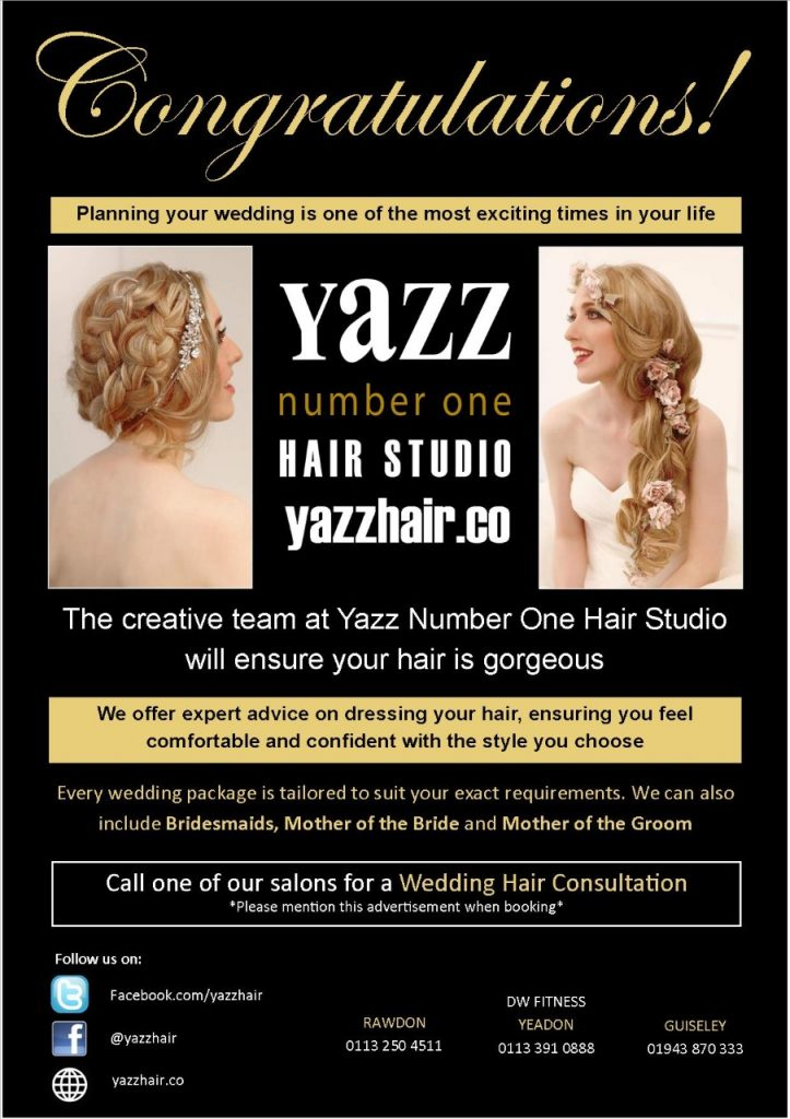 Wedding Hair Services at Yazz Number One Hair Salon, Rawdon, Yeador, Guiseley, North Leeds.