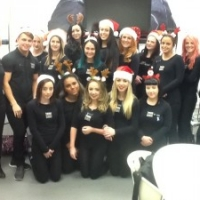 Yazz Yedon 2014 Hairdressing Academy Students in Christmas hats