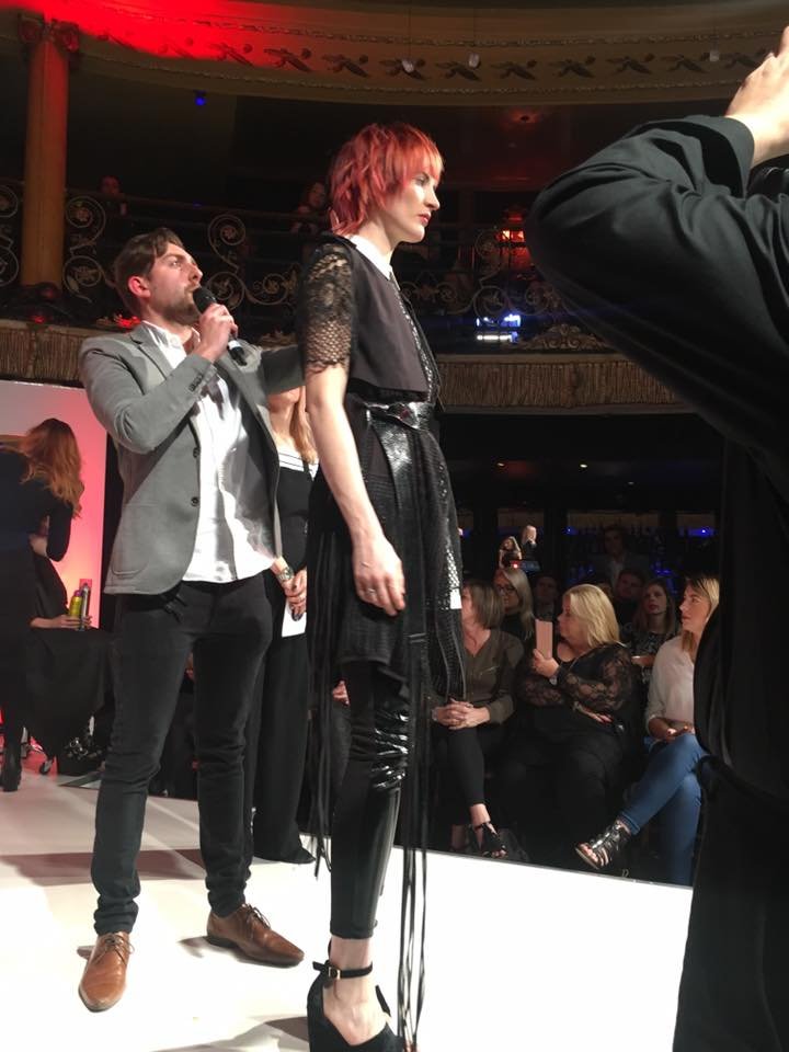 Ashley from Yazz Leeds, Rawdon presents his hair style masterpeice to the audience