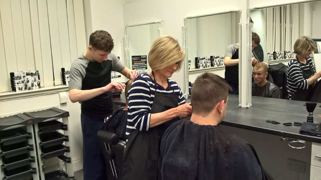 New Barebers in the makiing at Yazz Hairdressing Academy Yeadon, North Leeds