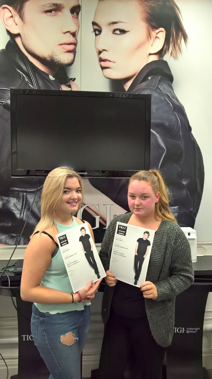 New Barebers Receiving Awards at Yazz Hairdressing Academy Yeadon, North Leeds