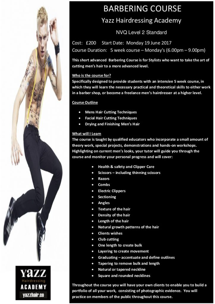 Yazz Hairdressing academy Bardering Course 19 june 2017 Factsheet Page 1