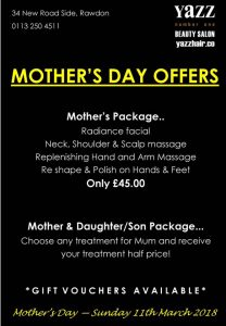 Mothers day offer from Yazz Beauty. Make your Mothers Day Special for 2018