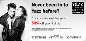 50% off voucher for new customers at Yazz Number One Leeds