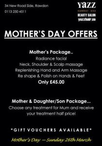 Mothers day gift idea from Yazz Hair and Beauty, Leeds
